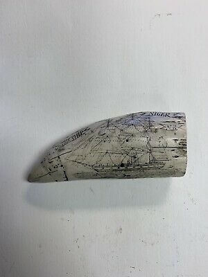Vintage Scrimshaw  Replica Carved Sperm Whale Tooth Ship Nautical  THE SHIP