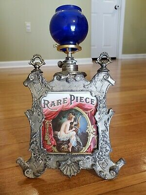 Antique Ornate Iron Cigar Store Counter Oil Lamp Lighter  w/Advertising