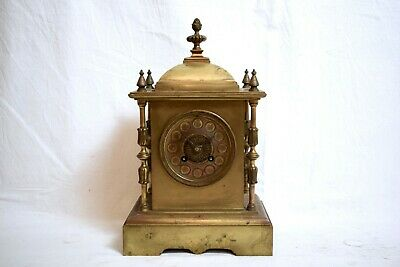 ANTIQUE 1920s JAPY FRERES FRENCH BRASS TWO TRAIN STRIKING MANTEL CLOCK