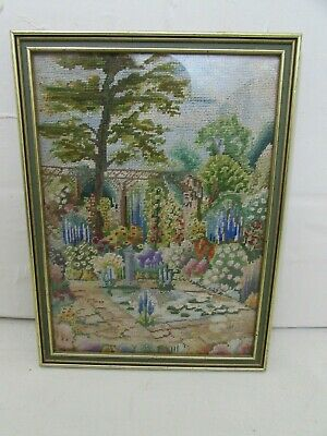 Small Vintage Embroidery Framed Picture Depicting Garden Scene