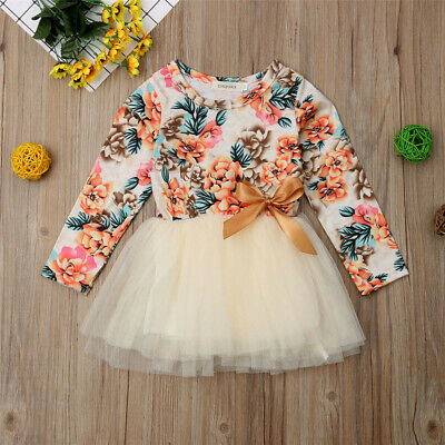 UK Infant Baby Girls Long Sleeve Floral Print Bowknot Tutu Dress Clothes 6M-4Y