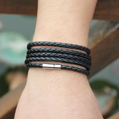 Multi-layers Fashion Punk Handmade Leather Bracelet Bangle Braided Mens Hot Gift
