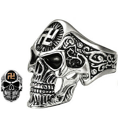 Skull Ring Gold Silver Buddhist Swastika Symbol Biker Ancient Icon Sizes 7-14