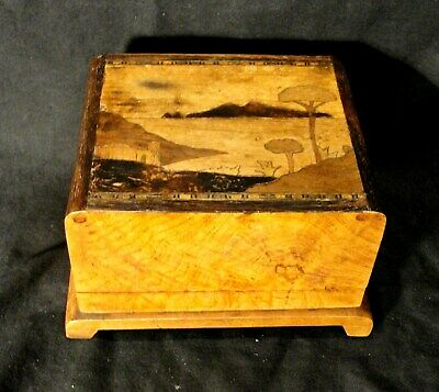1920s ART DECO CIGARETTE BOX in WALNUT with MARQUETRY TOP in jolly good condt