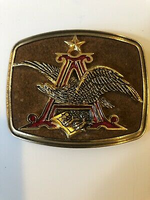 Vintage Antique Anheuser-busch Belt Buckle Leather And Metal Raintree 1979