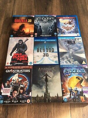 3d Blu Ray Collection 9 Movies Excellent Condition