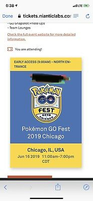 Pokemon Go Fest Ticket 2019, June 16th, Sunday, North Gate, Early Access 9 AM