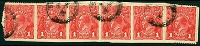 Australian KGV One Penny Red Used Strip of 6