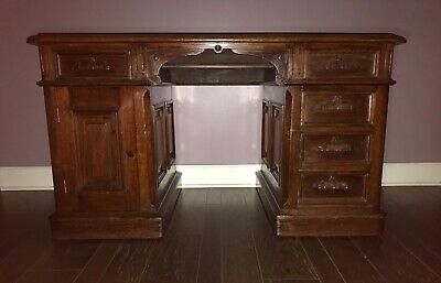A H Andrews Exective Walnut Pedestal Desk Cira 1880's/Post Office Dept Exec Desk