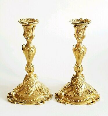 Pair 19C Imperial Russian Gilt Bronze Candle Holders