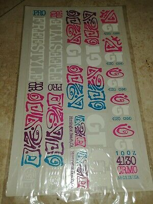 GT Pro Freestyle Tour Decals Set Old School Stickers Performer Black letters