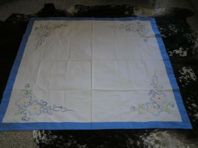 "1940's Cotton Heirloom delicate embroidered Blue Border Tablecloth 50"" Floral"