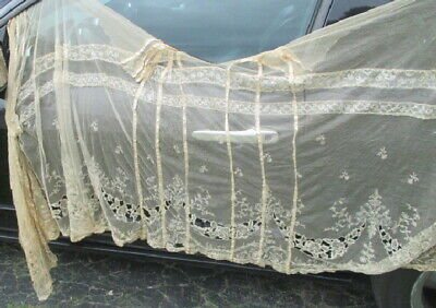 Antique Wedding Dress Victorian Silk Point De Gaze Needlelace Brussels Edwardian