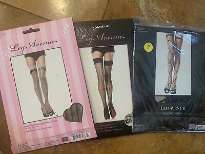 Leg Avenue Thigh highs Stockings black nude fishnet burlesque Lot x3 NWT