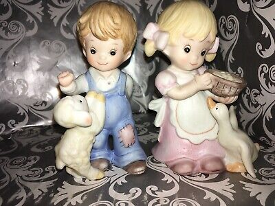 Bisque Little Girl Feeding Her Goose/Duck With Basket & Boy/Lamb #1449 Homco NIP