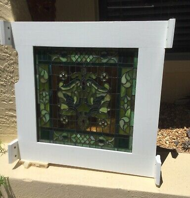 Beautiful Vintage Arts & Crafts Stained Glass Window / Artfully Framed