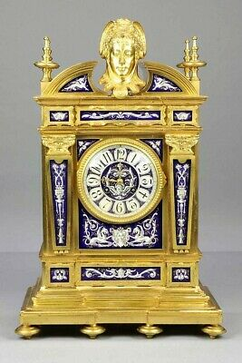 Large Superior 19C French Gilt Bronze Enamel Mantel Clock