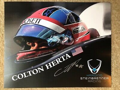 2019 COLTON HERTA signed INDIANAPOLIS 500 HERO PHOTO CARD POSTCARD INDY CAR RACE