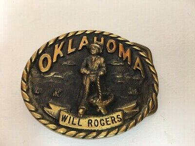 1980 solid brass BELT BUCKLE Will Rogers Registered Collection Heritage Mint LTD