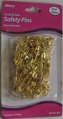 Safety Pins 5/Packs Assorted Sizes Gold Tone / Brass Plated 875Ct My Other Items