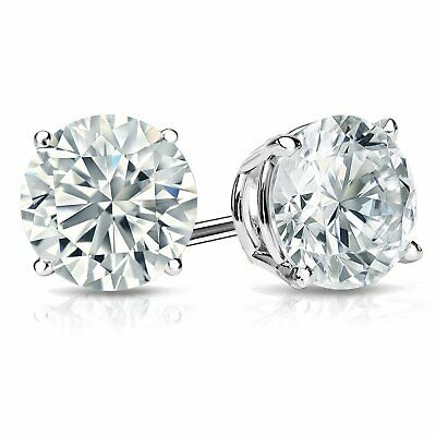 3.0 Ct Round cut Lab Diamond Stud Earrings 14k White Gold Screwback 5mm Gift