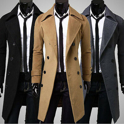 Mens Stylish Trench Coat Thick Woolen Jackets Double Breasted Long Coats 2019