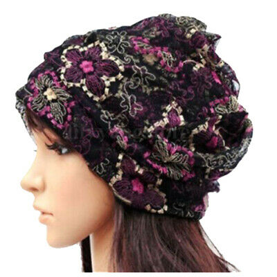 Women Lady Winter Bandana Beanie Turban Head Wrap Band Lace Hat Warm Cap, B R6N6
