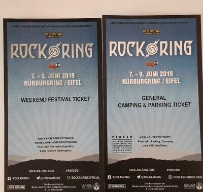 1 ROCK AM RING 2019 Weekend Festival Tickets +General Camping & Parking Tickets