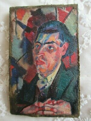 Weird Abstract Impressionist Miniature Picture on Panel - Portrait of Gentleman