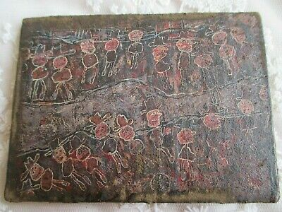 Weird Abstract Impressionist Miniature Picture on Panel - Commemorating Dubuffet