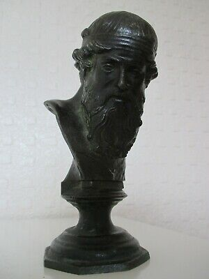 Fine Dark Patinated Bronze Greek Grand Tour Bust of Bearded Icon - God Platone
