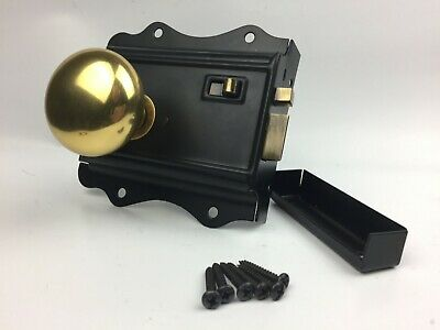 Old Victorian Style Solid Brass Rim Knob & Antique Style Lock/Latch Set