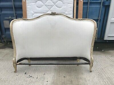 Vintage French Demi Corbeille Upholstered Double Bed Frame mattress included