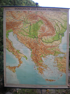 Schulwandkarte Wall Map Danube Adria Mediterranean Greece Turkey 178x218 1965