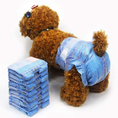 Pet Soft Disposable Dog Diapers for Female Dogs Cotton Denim Jeans Small Dog &