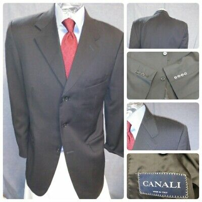 Canali Mens Black 42L Italy Suit Jacket Sport Coat 3B 100% Wool Unvented Nice