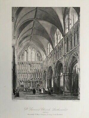 1850 Antique Print; Southwark Cathedral / St Saviour's, London after Allom