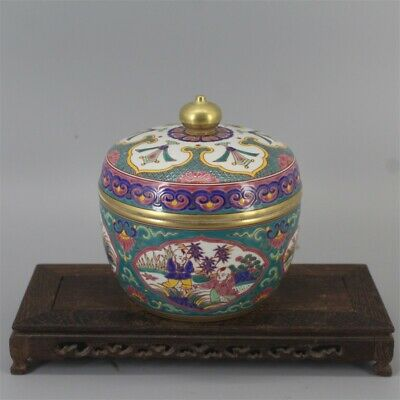 "6"" Chinese antique Porcelain Ming xuande mark colour enamels Children jar pot"
