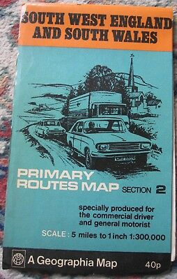 Geographia Map South West England and South Wales Primary Routes Map Section 2