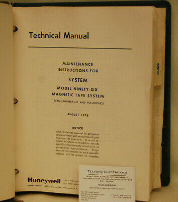 Honeywell 96 Magnetic Tape Recorder/Reproducer System Technical Manual