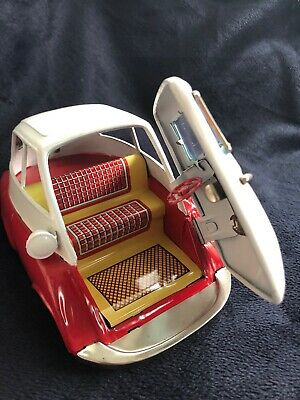 Isetta 588 Friktion rot/ weiss Made in Japan tin toy Bandai Blechspielzeug BMW