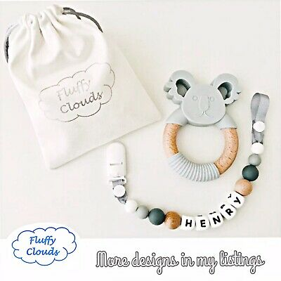 Silicon + Beech Wood Bead Baby Pacifier Soother Dummy Clip+Teether Set~ Boys