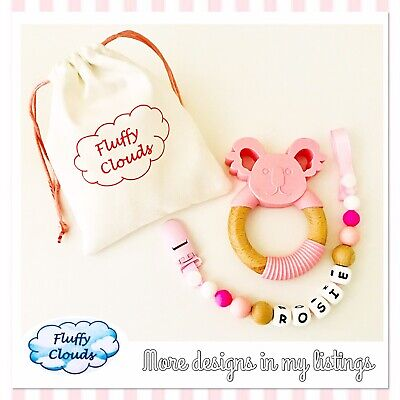 Silicon + Beech Wood Bead Baby Pacifier Soother Dummy Clip+Teether Set~ Girls