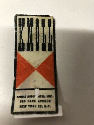 KNOLL ASSOCIATES PARK AVENUE NY LARGE BOWTIE FABRIC LABEL SARRINEN TABLE 1950s