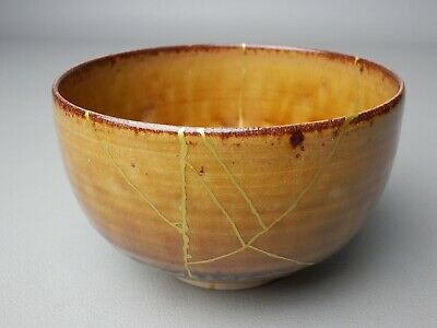 "Japanese Vintage Chawan Gold Repair Kintsugi Ceramic Tea Bowl Signed ""Takatori"""
