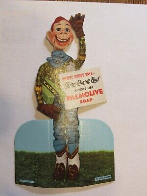 NOS NM 1940s Howdy Doody Country Store Display Sign ~ Advertising Palmolive Soap