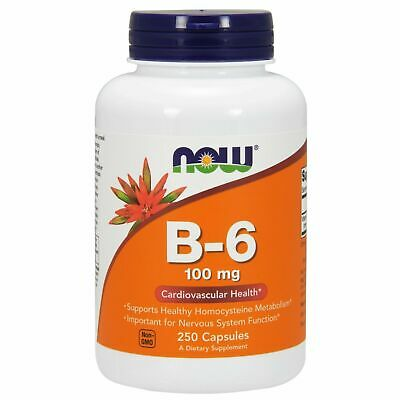 Now Foods VITAMIN B-6, 100 mg, 250 caps CARDIOVASCULAR, NERVOUS SYSTEM HEALTH