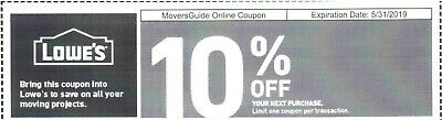 Lowes 10% Off  Coup0n code online 1coupon delivered by email exp. 5/31/19