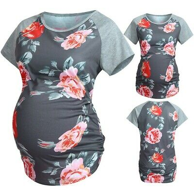 UK Women Maternity Comfy Cotton Short Sleeve Floral Print Tops Pregnancy T-shirt