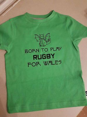 boys novelty green t-shirt/top born to play rugby for wales 12-18 months